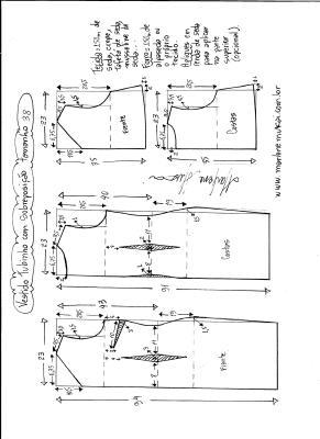 Esquema de modelagem de vestido de festa tubinho com sobreposição tamanho 38.