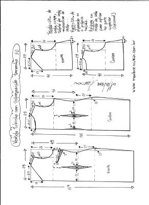 Esquema de modelagem de vestido de festa tubinho com sobreposição tamanho 50.