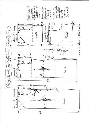 Esquema de modelagem de vestido de festa tubinho com sobreposição tamanho 54.
