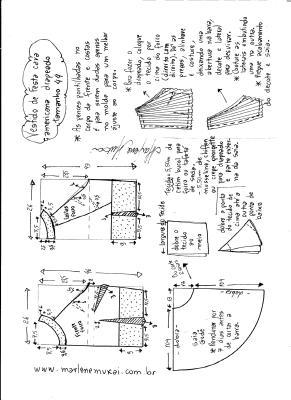 Esquema de modelagem de Vestido de festa cava americana tamanho 44.