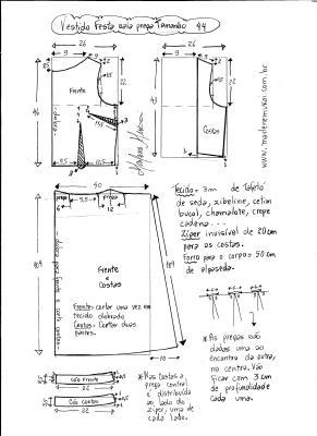 Esquema de modelagem de vestido de festa com pregas tamanho 44.