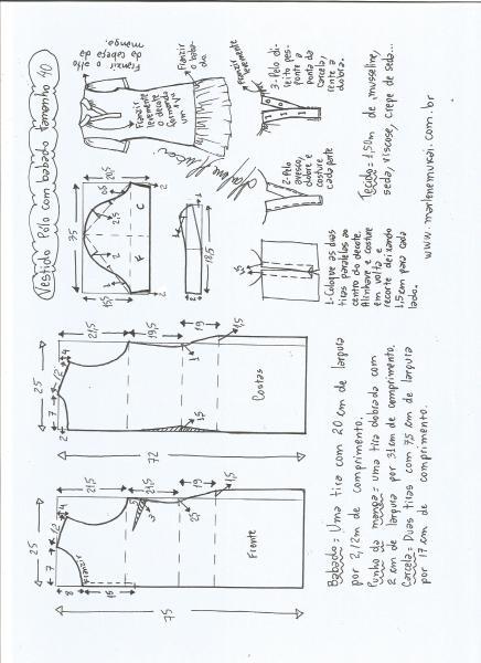 Esquema de modelagem de vestido pólo com babado na barra tamanho 40.