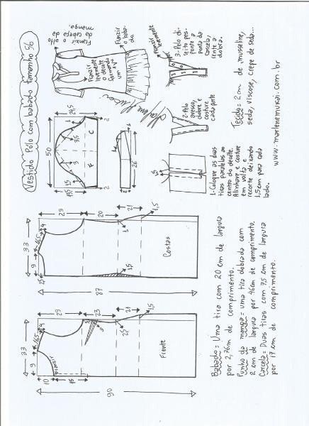 Esquema de modelagem de vestido pólo com babado na barra tamanho 56.