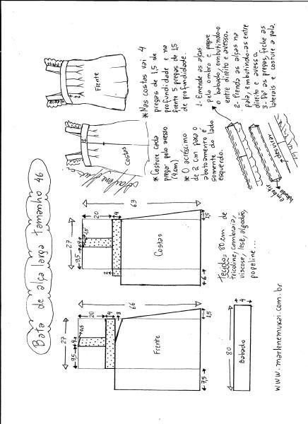 Esquema de modelagem de bata com alça larga e babado tamanho 46.