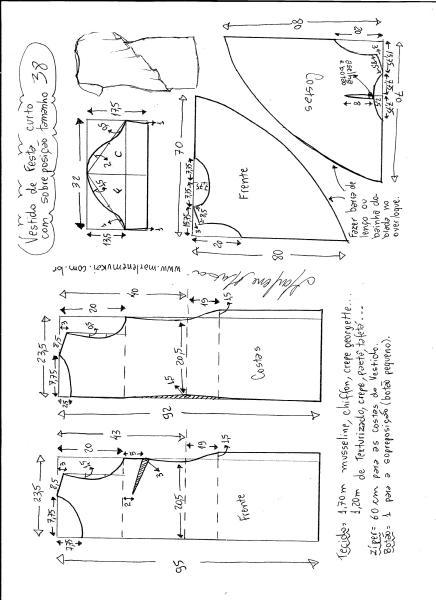 Esquema de modelagem de vestido de festa com sobreposição tamanho 38.