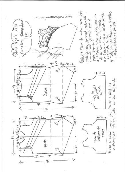 Esquema de modelagem de blusa regata com recortes diagonais tamanho 38.