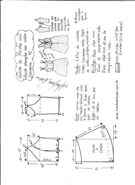 Esquema de modelagem de vestido de alcinha e decote costas tamanho 42.