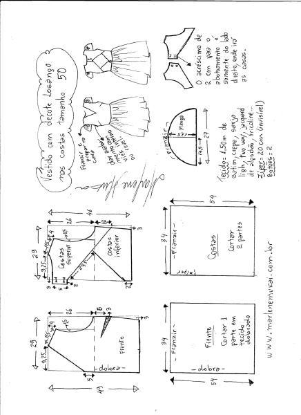 Esquema de modelagem de vestido com decote losango nas costas tamanho 50.