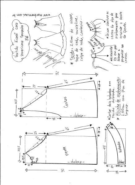 Esquema de modelagem de Vestido cava americana evasê tamanho 56.