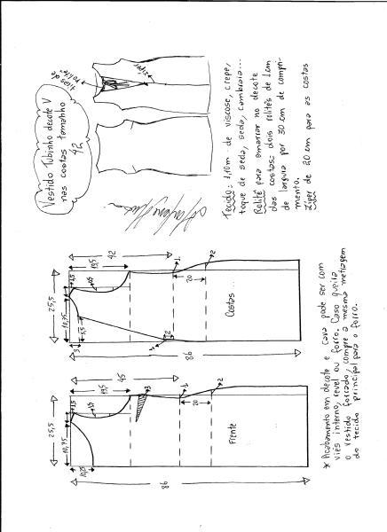 Esquema de modelagem de vestido tubinho com decote nas costas tamanho 42.