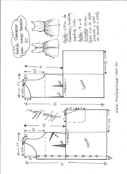 Esquema de modelagem de vestido chamisier tamanho 40.