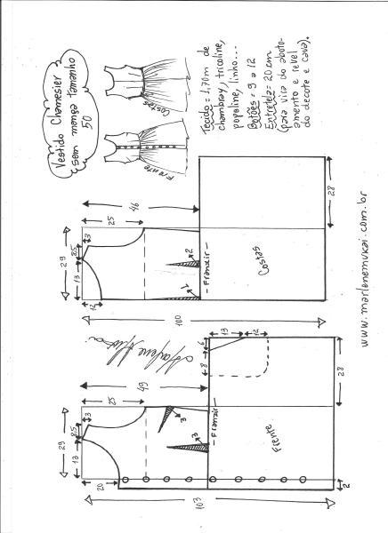 Esquema de modelagem de vestido chamisier tamanho 50.