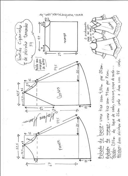 Esquema de modelagem de vestido ciganinha de alcinha tamanho 54.