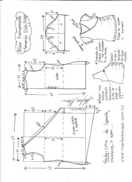 Esquema de modelagem de blusa transpassada de malha tamanho EGG.