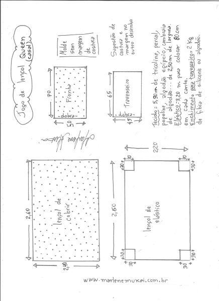 Esquema de modelagem de jogo de lençol de casal queen size.