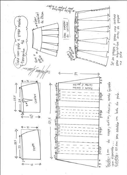 Esquema de modelagem de saia com pala e pregas macho tamanho 46.