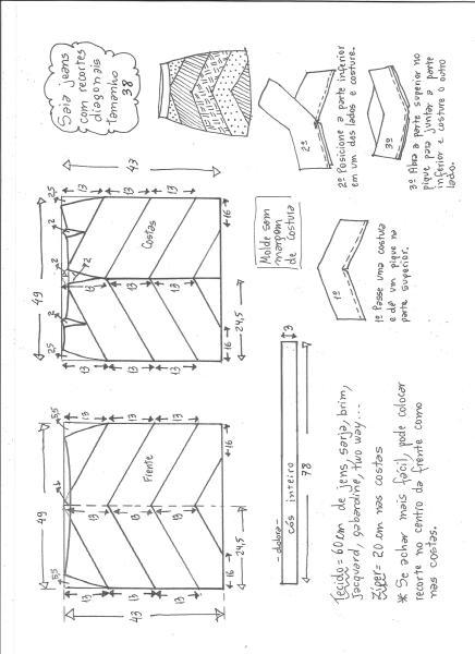 Esquema de modelagem de saia jeans com recortes tamanho 38.