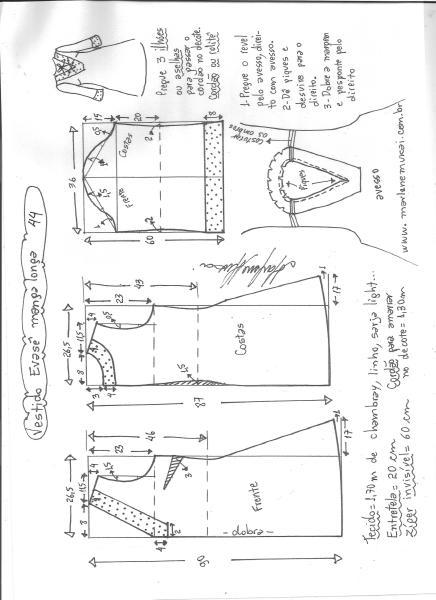 Esquema de modelagem de vestido evasê manga longa tamanho 44.