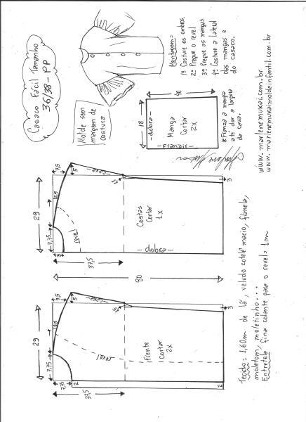 Esquema de modelagem de casaco sobretudo fácil PP.
