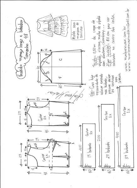 Esquema de modelagem de vestido manga longa babados tamanho 48.