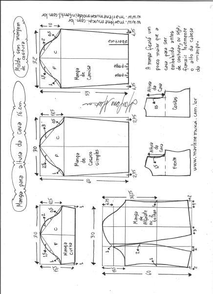 Esquema de modelagem de mangas curta, de casaco, camisa e alfaiate para altura de cava de 16 cm.