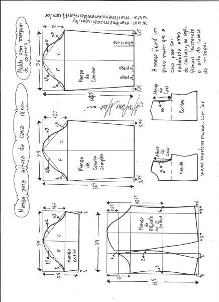 Esquema de modelagem de mangas curta, de casaco, camisa e alfaiate para altura de cava de 18 cm.