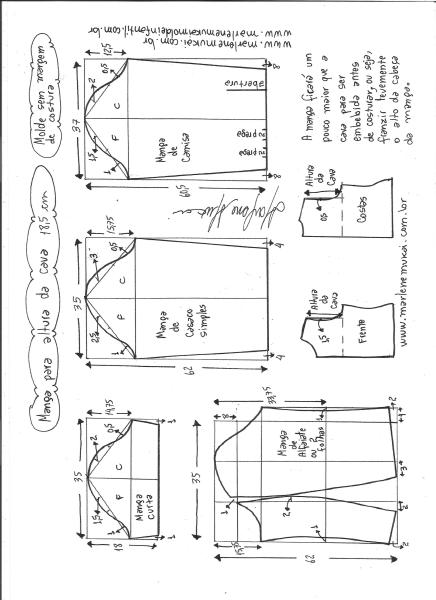 Esquema de modelagem de mangas curta, de casaco, camisa e alfaiate para altura de cava de 18,5 cm.