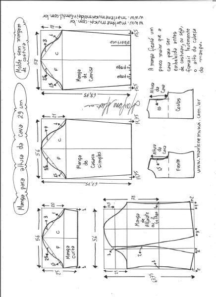 Esquema de modelagem de mangas curta, de casaco, camisa e alfaiate para altura de cava de 29 cm.