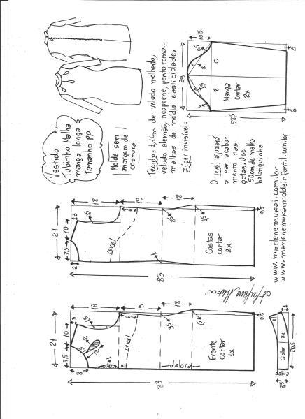 Esquema de modelagem de vestido tubinho malha manga longa tamanho PP.