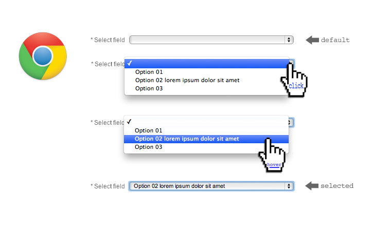 Styled option tag layout in Google Chrome browser