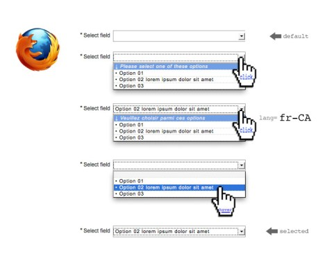 Styled option tag layout in Mozilla Firefox browser