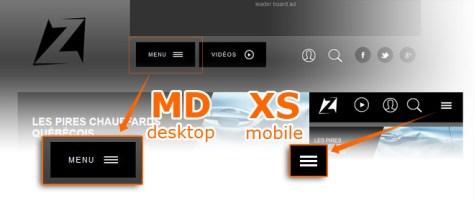 screenshot Ztele.com bootstrap grid desktop VS mobile interface