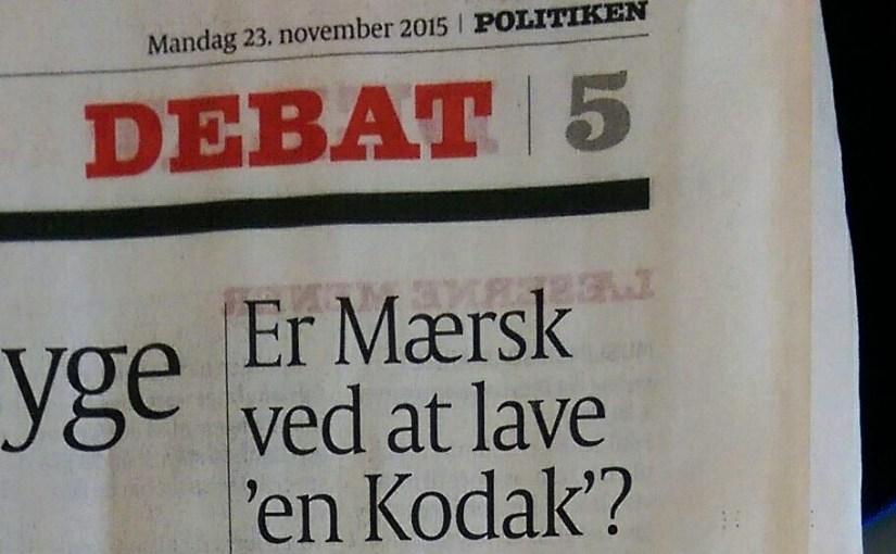 Mit nye læserbrev i Politiken: Kursændring hos Mærsk