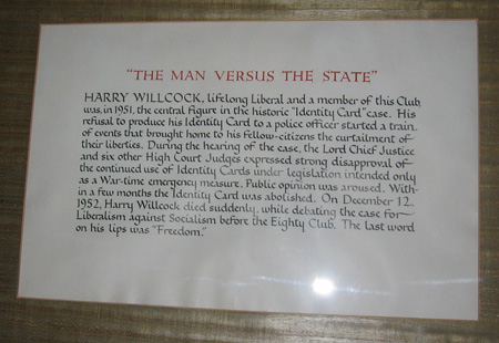 Harry Willcock plaque, National Liberal Club. Photo courtesy of Martin Tod