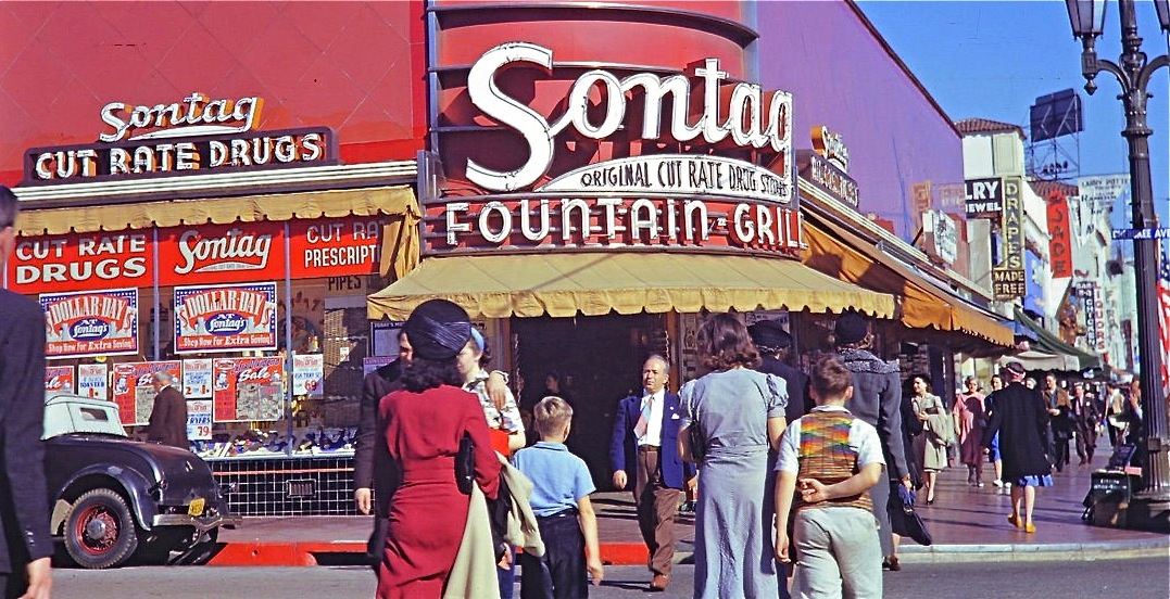 Sontag Drug Store On The Northeast Corner Of Hollywood Blvd And Cherokee Avenue 1940s