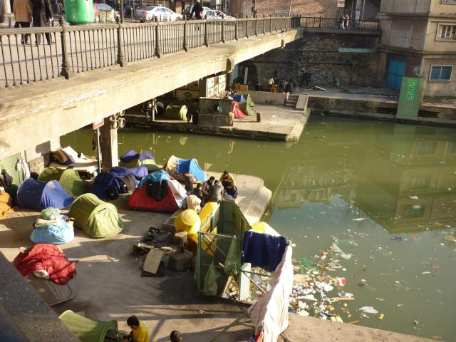 Afghan refugees living on Canal St. Martin, France, 2010 Image source