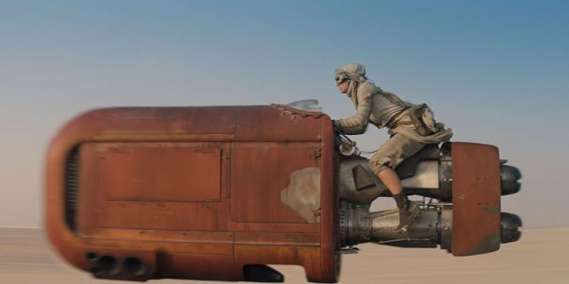 "Rey (Daisy Ridley) scampers across the desert on her ""galaxy far, far away"" Massey-Ferguson. (Image: Disney)"
