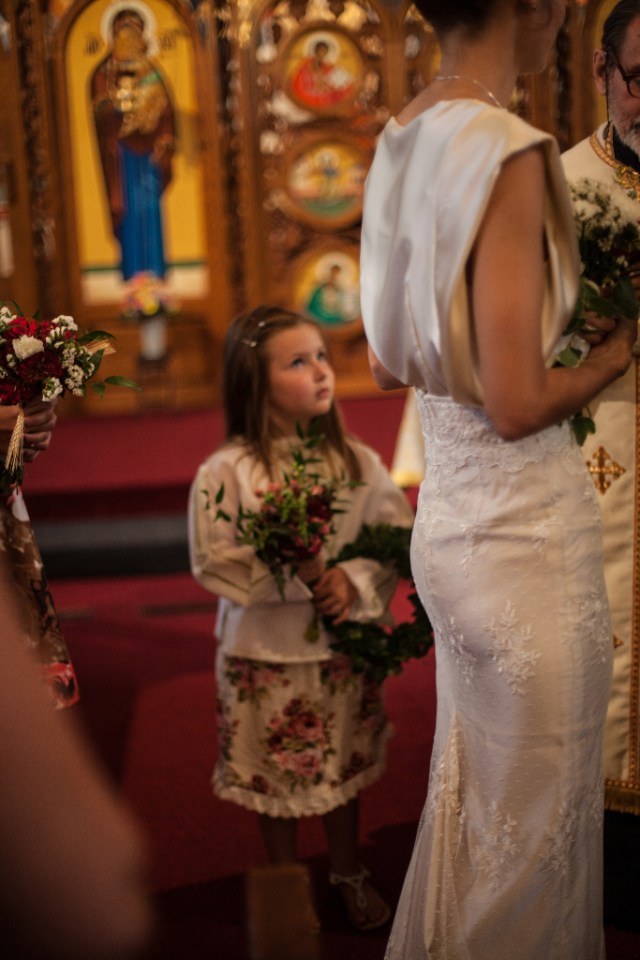 August Wedding, Ivory Silk and lace Custom made wedding gown, Marusya, Ukrainian Chapel, St. Michael's MIshawaka Indiana, poppies, flower girl
