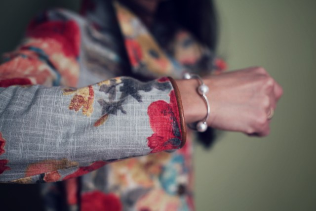 Colorful Floral Cotton Jacket trench coat genuine leather cuffs marusya