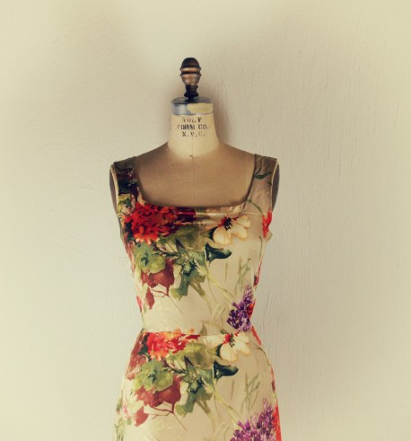 Floral silk wool shift dress marusya handmade by Designer