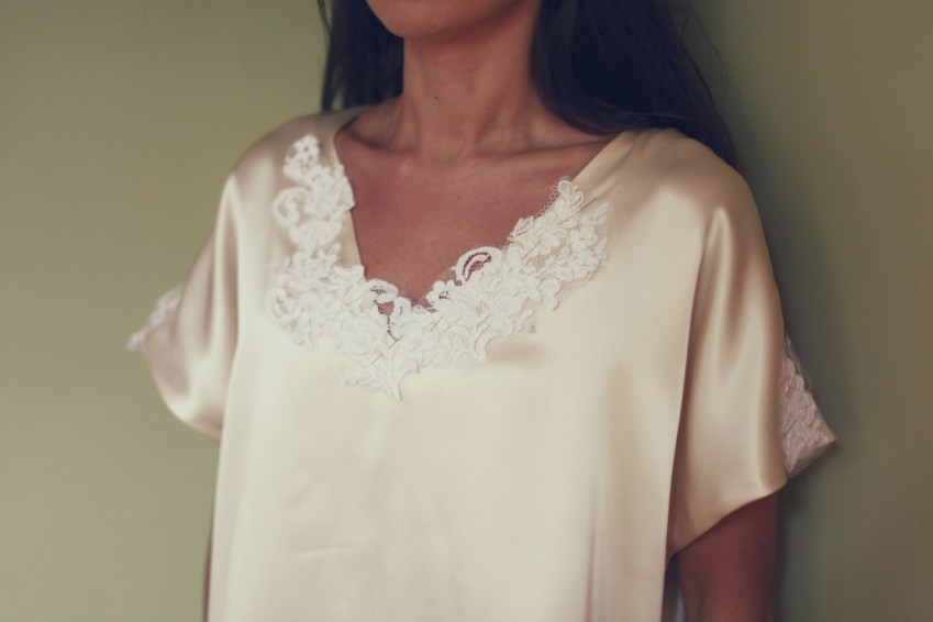 alencon lace and silk charmeuse cream white top blouse