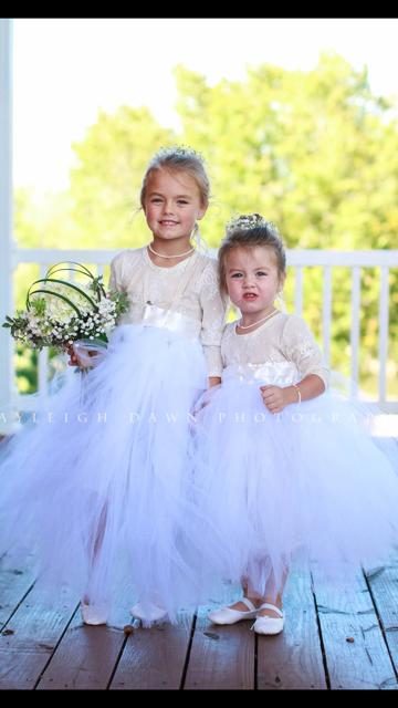 White Ivory Champagne Lace Tulle Flower Girl Dress bridal Skirt leotard wedding