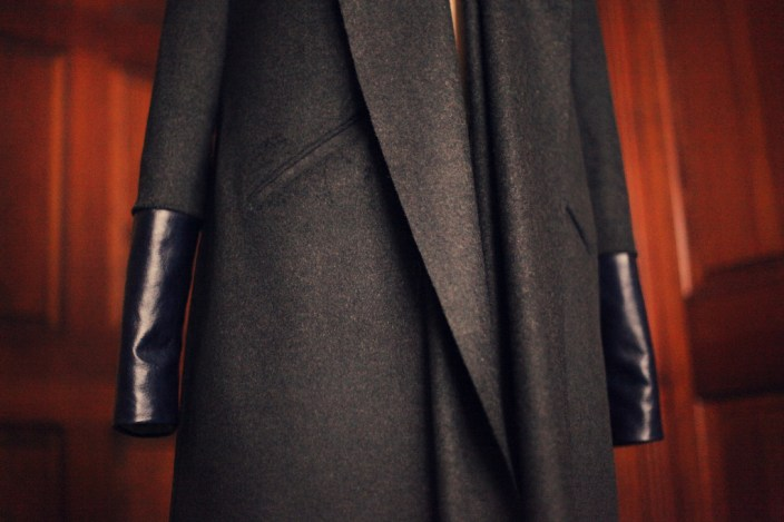 Charcoal 13 Wool and navy leather 1 2011 126 Burdastyle sewing pattern coat