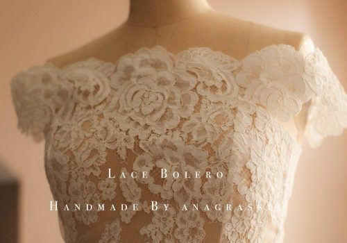 lace topper wedding dress bolero alencon ivory white