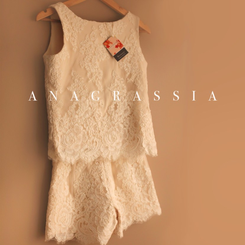 Alencon Ivory Lace Crop Top Cream Shorts