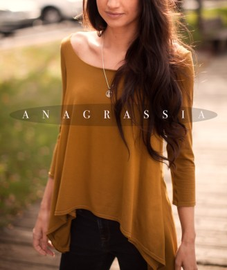 Deep, gold, ochre, green, olive, brown, tunic, blouse, top, cape, style, high low, hem, thick draped, band, banded, elastic, fall, photography, best, anagrassia