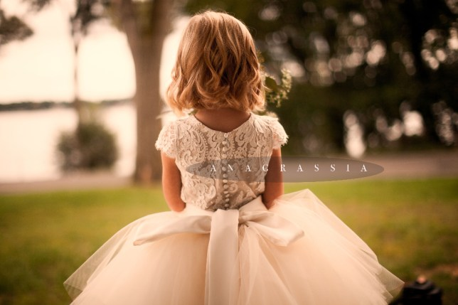 Gold Ivory White Champagne Cream Ivory Lace Tulle Satin Flower Girl Communion Dress Skirt, Alencon Chantilly Lace Leotard Anagrassia Couture Handmade High End