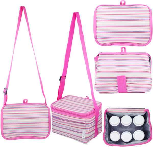 Autumnz - Fun Foldaway Cooler Bag (Perky Pink Stripes)