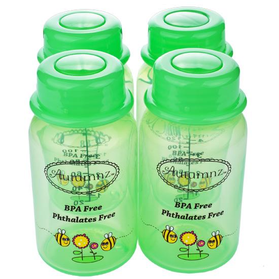 Autumnz - Breastmilk Storage Bottles (4 bottles) - Green Buzzing Bees