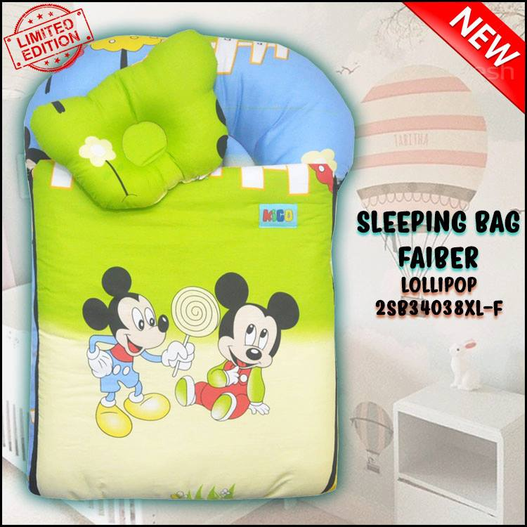 SLEEPING BAG FIBER LOLLIPOP KAIN COTTON ASLI SAIZ XL